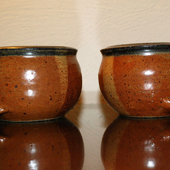 Two Signed Stoneware Cups - Pottery