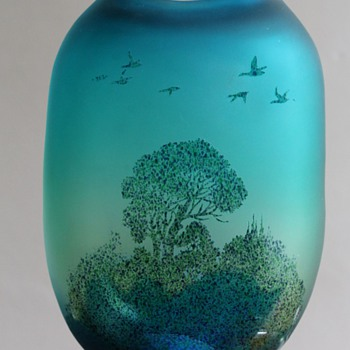 Japanese Made Cameo Glass Vase - Art Glass