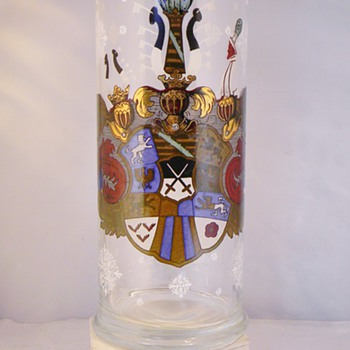 "Bohemian Herrenhäuser German Crest Enamel Vase 11"" - Art Glass"