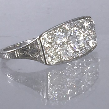 Art Deco OEC Diamond Platinum Etched Filigree Ring   - Art Nouveau