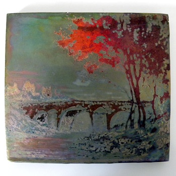 Clement Massier &amp; Marius Alexandre Iridescent Scenic Earthenware Tile