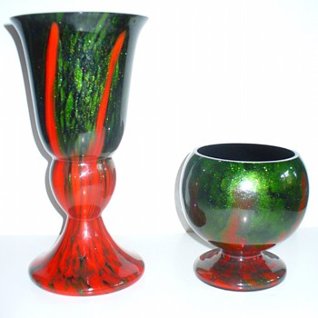 MONUMENTAL RUCKL CORAL SHIMMY VASE - Art Glass