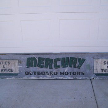 vintage mercury outboard motor sales & service storefront sign - Signs