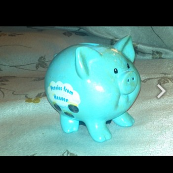 Vintage Light Blue Piggy Bank Pennies From Heaven
