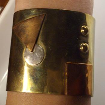 Signed Artisan cuff bracelet. - Costume Jewelry