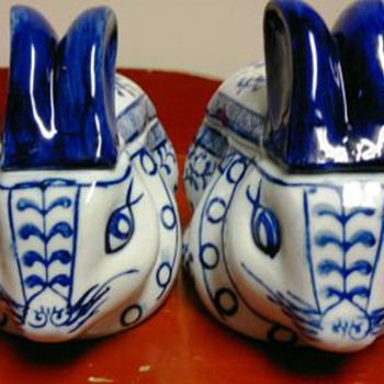 Blue &amp; White  Porcelain rabbits