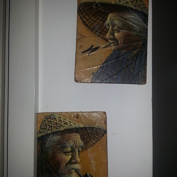 Painting done on leaves from Vietnam - Asian