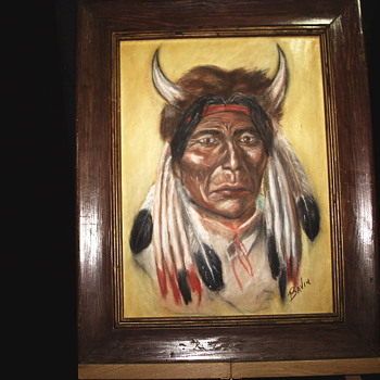 Sorcerer Native American Indian oil Painting