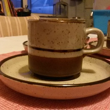 Glazed stoneware cup and saucer set