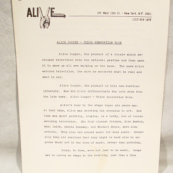 "ALICE COOPER ""ORIGINAL"" ALIVE ENTERPRISES HAND TYPED LOVE IT TO DEATH PROMO SHEET  - Music"