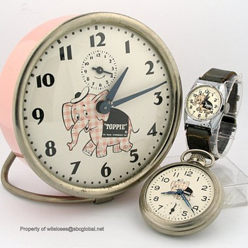 "Top Value Stamps ""Toppie"" the Elephant Clock, Pocket, & Wrist Watch Set - Wristwatches"