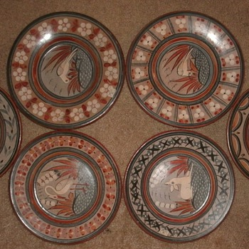 Burnished Mexican Art Plates (Hand Painted) - Pottery