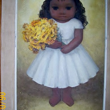Mexican painting by Luis Vezcali of cute girl :-)