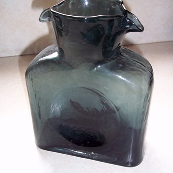 Blenko water pitcher with double spout