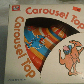 1960's  OHIO ART TIN CAROUSEL TOP FACTORY SEAL MINT CONDITION! - Toys