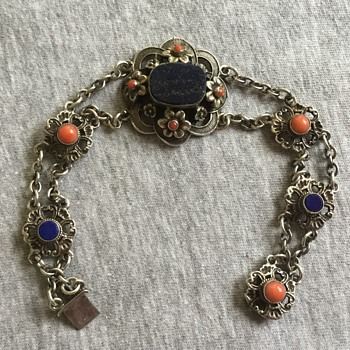Zoltan White & Co Silver Lapis and Coral Bracelet - Arts and Crafts