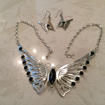 SILVER AND ONYX BUTTERFLY NECKLACE - Native American