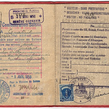 Allied Military Government visa  - 1950 Turkish Special passport - Paper