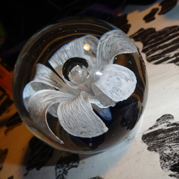 art glass flower paper weight