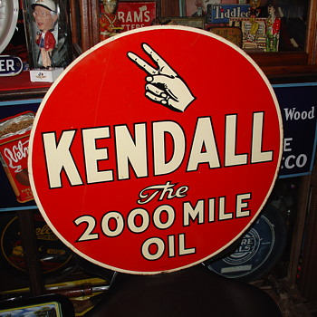 "KENDALL 24"" double-sided tin sign dated 4-50 - Signs"