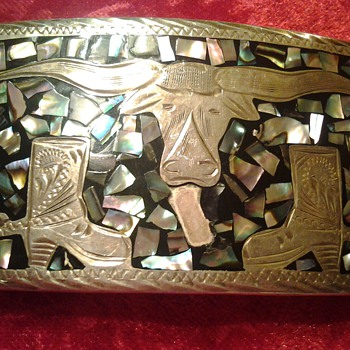 SILVER ABALONE BELT BUCKLE