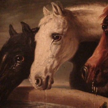 Three Horses 19th Century Unsigned Oil On Canvas Board