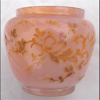 PINK OPALINE GLASS VASE / BOWL  - Art Glass