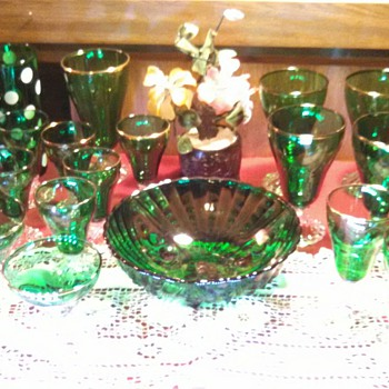 "Anchor Hocking Forest Green/""Burple"" Stems, Bowl, Tumbler"