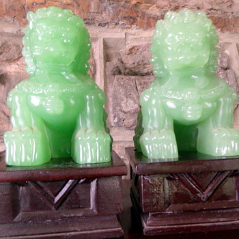 Pair of Heavy Jadite Foo Dogs   - Asian