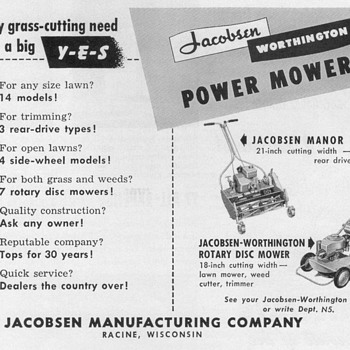 1951 - Jacobsen Lawnmowers Advertisement - Advertising