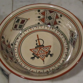 "Ceramique Slama Bowl...10.5"" from Nabeul Tunisie  - Art Pottery"