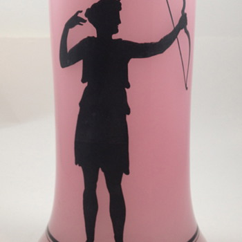 Pink Opaline vase with enameled silhouette of Diana, Goddess of the Hunt - Art Glass