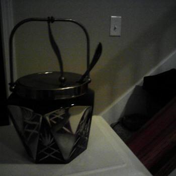 1881 Rogers clear cut red preserve jar A1 - Glassware