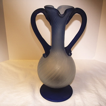 Frosted 2 handle light blue Vase