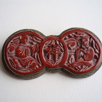 Chinese Cinnabar Brooch - Fine Jewelry