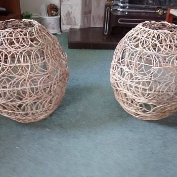 What would you call the style and influence of these lampshades, constructed of twisted willow around metal support. - Lamps