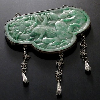 Huge Jade Carved Pendant 19th century - Asian