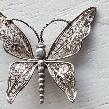 Filigree sterling butterfly brooch