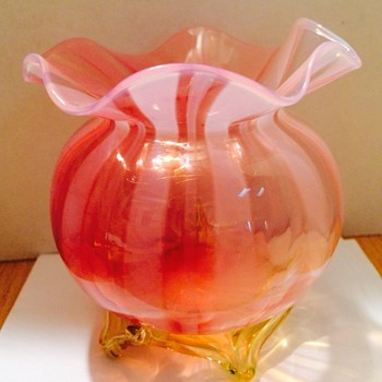 Pink and Yellow art glass vase - Art Glass
