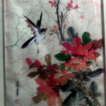 Asian Bird & flower  watercolor on silk cloth?  - Asian