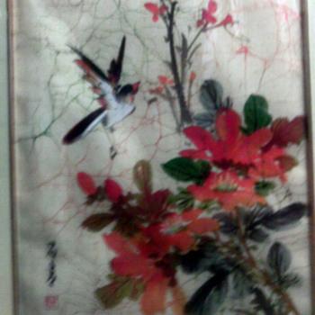 Asian Bird & flower  watercolor on silk cloth?  - Asian