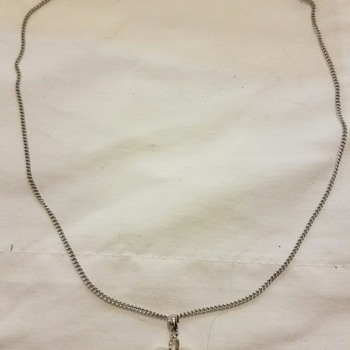 Vintage?? Real Silver and perhaps faux pearl necklace