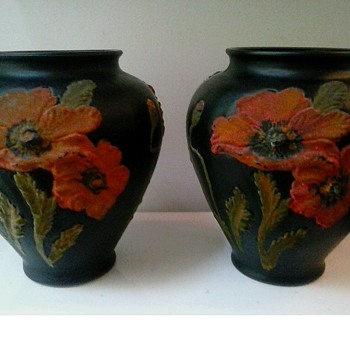 """Tiffin"" 8"" Black Amethyst Satin Glass Vases With Hand Painted ""Coralene"" Poppies/ Circa 1920"