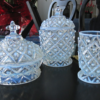 Hobnail Opalescent Glass Pieces - Can anyone tell me more about them? - Glassware