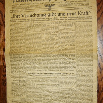 "German Newspaper July 21. 1944 - (report of assassination attempt on ""der fuhrer"") - Paper"