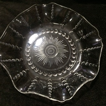 Clear vintage large bowl with scalloped edges
