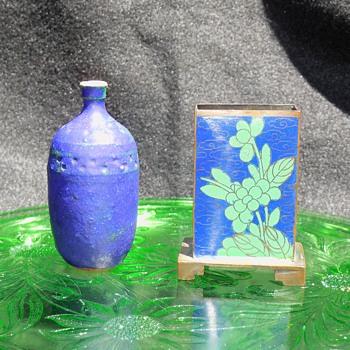 Flea Find For Fun Pottery Vase & Cloisonne Match Box Holder - Pottery