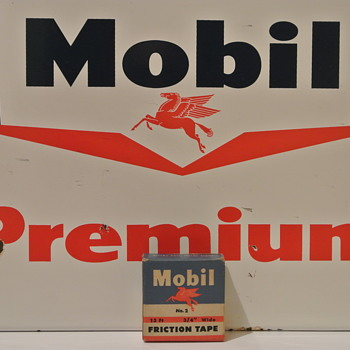 Mobil Premium Gas Pump Porcelain Sign and Friction Tape w/Pegasus - Petroliana