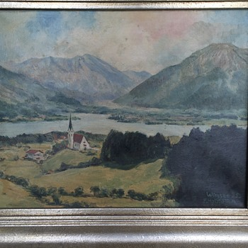 "Franz Hofstötter (1871-1958) Original Oil Painting, ""Wiessee 35."", 1935 - Visual Art"