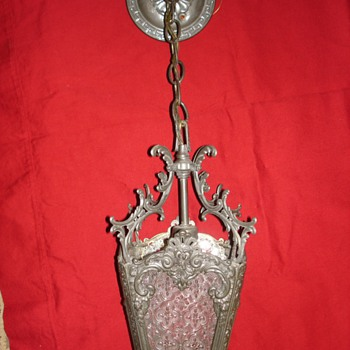 Antique Cast Brass Hall/Foyer Lantern with pressed glass